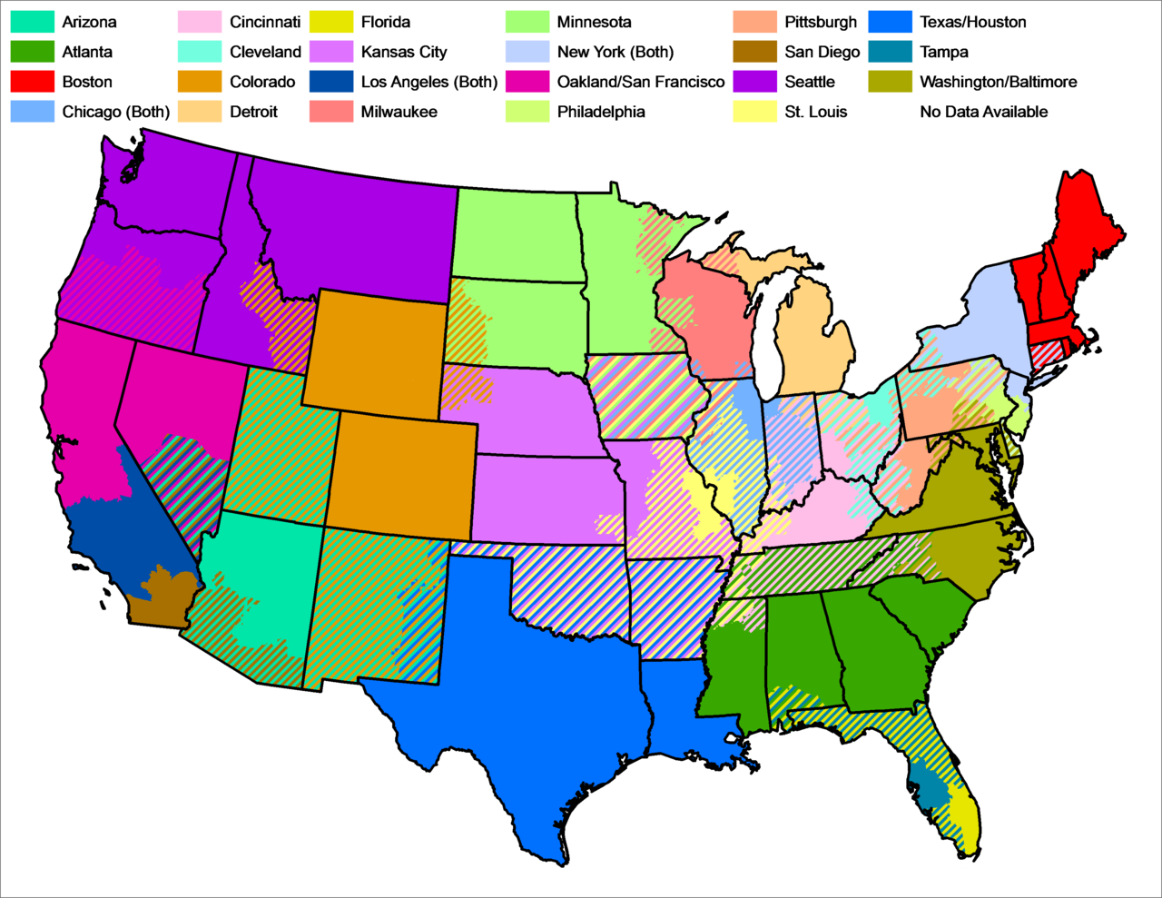 MLB television markets map