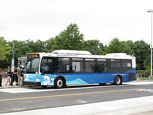 Bus rapid transit creep - An S79 SBS bus at the Staten Island Mall. The degradation of SBS service is sometimes cited as an example of BRT creep. Note the lack of prepaid ticket machines, lack of level-boarding platforms and lack of articulated buses.