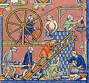 Tower of Babel constructed with a treadwheel crane, illustration in the Maciejowski Bible (fol 3r)