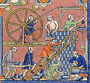 Artes Mechanicae - A high medieval construction site from the Maciejowski Bible.