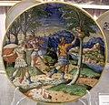 Maiolica di urbino, apollo trasforma ciparisso in albero, 1550-1574.jpg