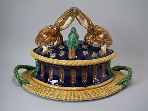 Lead-glazed earthenware - Rare Minton majolica game pie dish, coloured lead glazes, great example of High Victorian appetite for  innovation and humour