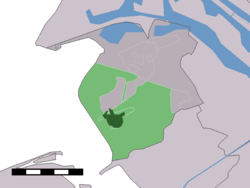 The town centre (dark green) and the statistical district (light green) of Rockanje in the municipality of Westvoorne.