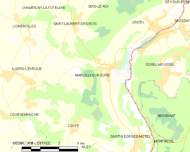 Mapa obce Marcilly-sur-Eure