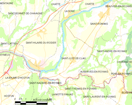 Mapa obce Saint-Just-de-Claix