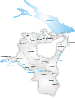Map of the Canton of St. Gallen