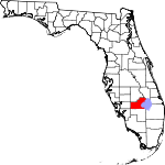 State map highlighting Glades County