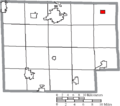 Map of Huron County Ohio Highlighting Wakeman Village.png