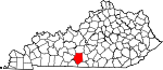 State map highlighting Barren County