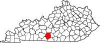 Map of Kentucky highlighting Barren County