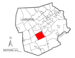 Map of Luzerne County highlighting Dorrance Township