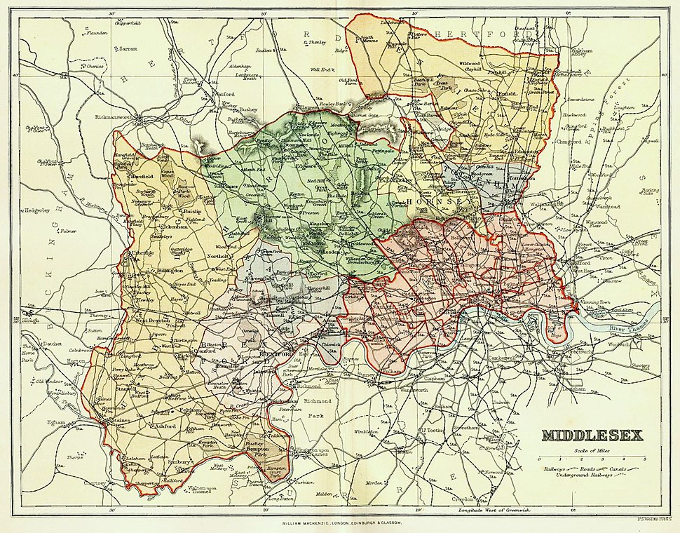 Map of Middlesex