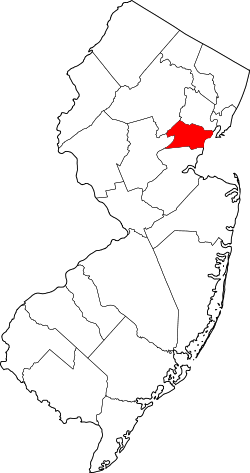 map of New Jersey highlighting Union County