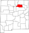 State map highlighting Mora County