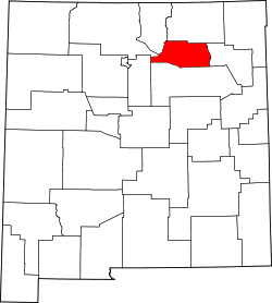 map of New Mexico highlighting Mora County