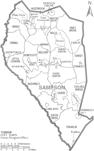 Sampson County, North Carolina - Map of Sampson County, North Carolina With Municipal and Township Labels