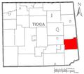 Map of Tioga County Pennsylvania Highlighting Ward Township.PNG