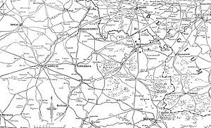 Battle of Mons - Image: Map of initial area of BEF operations, 1914