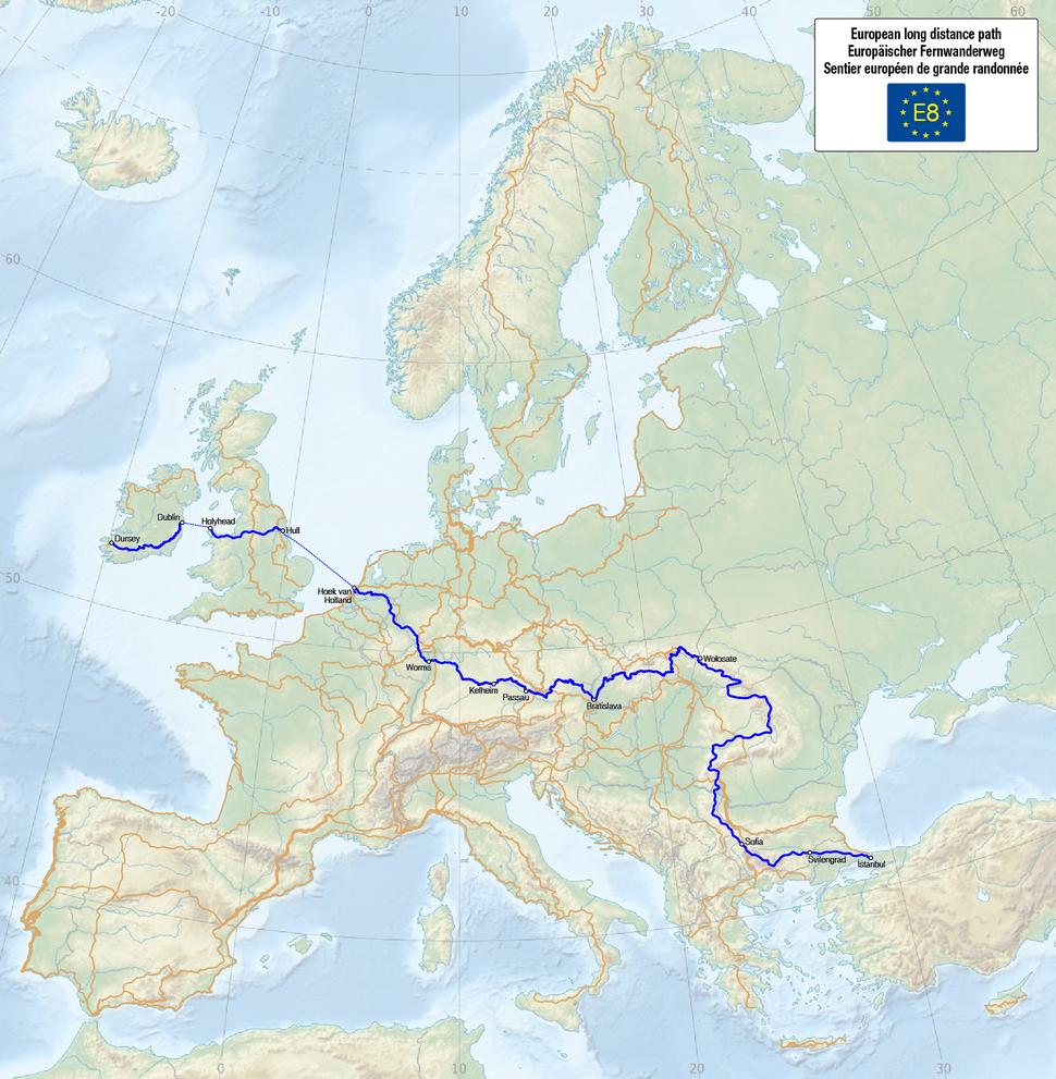 Map of the European Long Distance Path E8