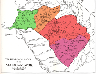 Plains and Sierra Miwok - Map of the territory and villages (not exhaustive) of the Plains and Sierra Miwok (after Kroeber 1925).