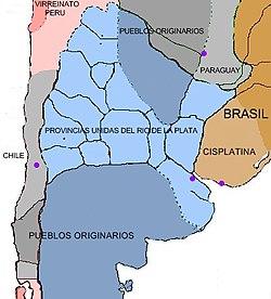 Localização de Províncias Unidas do Río da Prata