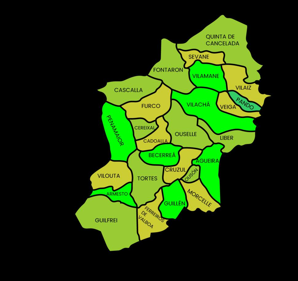 Mapa das parroquias de becerrea