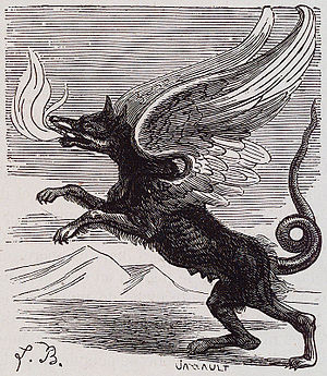 Marchosias - Marchosias appears as a fire spitting chimeric wolf with wings of a griffon and tail of a serpent.