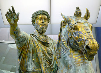 Marcus Aurelius - The Statue of Marcus Aurelius (detail) in the Musei Capitolini in Rome
