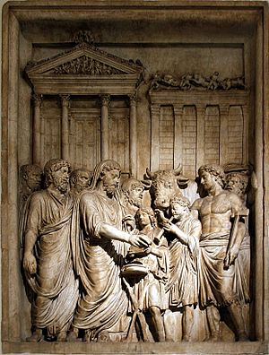 Sacrifice - Marcus Aurelius and members of the Imperial family offer sacrifice in gratitude for success against Germanic tribes: contemporary bas-relief, Capitoline Museum, Rome