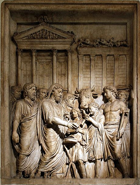 Marcus Aurelius and members of the Imperial family offer sacrifice in gratitude for success against Germanic tribes: contemporary bas-relief, Capitoline Museum, Rome Marcus Aurelius showing sacrifice - Arch of Marcus Aurelius - Musei Capitolini - Rome 2016.jpg