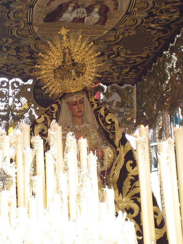 One of many crowned statues of the Virgin Mary carried in the processions of Holy Week in Seville. Maria de las angustias 1.JPG