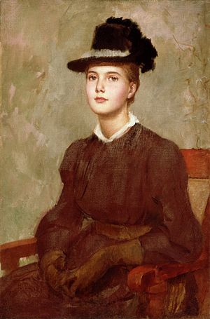 Marie Danforth Page - Portrait of Marie Danforth Page, Frank Duveneck, oil on canvas, c. 1889.  In the collection of the Cincinnati Art Museum