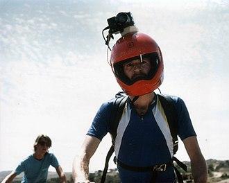 Helmet camera - Mark Schulze wearing helmet cam in The Great Mountain Biking Video in 1987