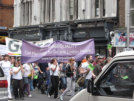 """MarriagEquality"" supporting same-sex marriage in Ireland at a demonstration in Dublin. MarriagEquality Dublin.JPG"