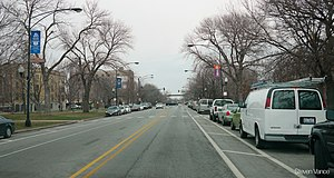 "Chicago park and boulevard system - Marshall Boulevard, in the Little Village neighborhood. A sign on the lamppost on the left says ""Chicago's historic boulevards""."