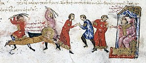 Byzantine Iconoclasm - The torture and martyrdom of the iconophile Bishop Euthymius of Sardeis by the iconoclast Byzantine Emperor Michael II in 824, in a 13th-century manuscript