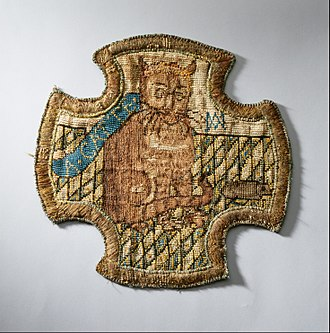Embroidery done by Mary in captivity (now in the Royal Collection) Mary, Queen of Scots - A catte - Google Art Project.jpg