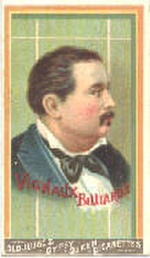 Balkline and straight rail - Maurice Vignaux tobacco card, circa 1880s. Note the lack of Parker's boxes or anchor spaces on the displayed table.