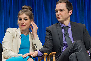"Sheldon Cooper - Mayim Bialik (who portrays Amy Farrah Fowler) and Jim Parsons at PaleyFest 2013 for the TV show ""Big Bang Theory"""