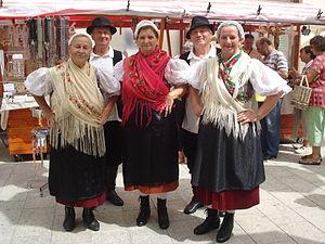 Croatian national costume - Women from Međimurje (northern Croatia) in traditional folk costume.