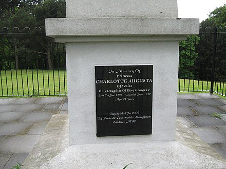 Plaque at the base of the obelisk in Red House Park, Sandwell Memorial obelisk-Red House Park, Great Barr, Sandwell (geograph 4969570).jpg