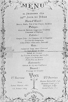 Menù di Natale durante l'assedio di Parigi.
