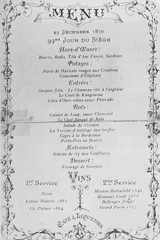 Alexandre Étienne Choron - Choron's 1870 Christmas menu at the restaurant Voisin.