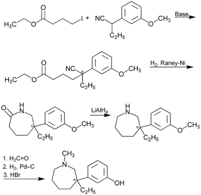 Synthese von racemischem Meptazinol (* = Stereozentrum)