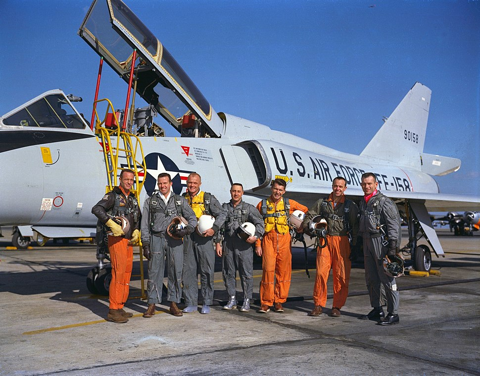 Mercury Seven astronauts with aircraft