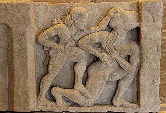 Ancient Greek temple - Early metope frieze relief, museum at Paestum
