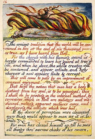 The Doors of Perception - One of the copies of William Blake's unique hand painted editions, created for the original printing of the poem. The line from which Huxley draws the title is in the second to last paragraph. This image represents Copy H, Plate 14 of The Marriage of Heaven and Hell which is currently held at The Fitzwilliam Museum.