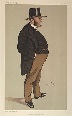 """Michael Biddulph, 1st Baron Biddulph - """"South Herefordshire"""". Caricature by Spy published in Vanity Fair in 1891."""