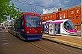 Midland Metro trams nos. 16 & 20 at St. Georges, Bilston Street, Wolverhampton, geograph-4028264-by-P-L-Chadwick.jpg