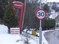 Milltown of Edinville phone box and free range children sign - geograph.org.uk - 741369.jpg